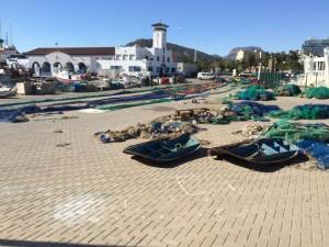 Fischernetze am Hafen von Cartagena