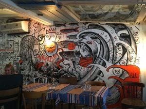 Wandmalerei im Restaurant